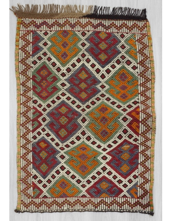Vintage small embroidered kilim rug