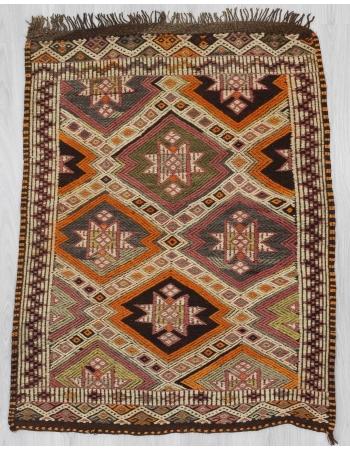 Embroidered small kilim rug