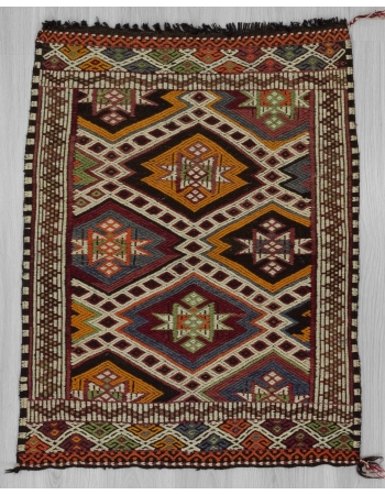 Vintage embroidered Turkish kilim rug