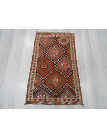 Embroidered small Turkish kilim rug