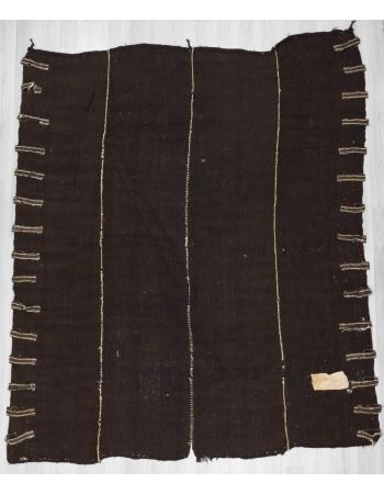 Vintage dark brown nomad tente kilim rug
