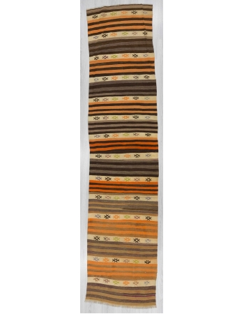 Vintage striped Turkish kilim runner rug