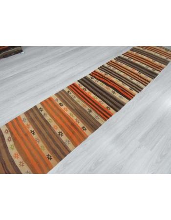 Vintage striped Turkish kilim runner rug
