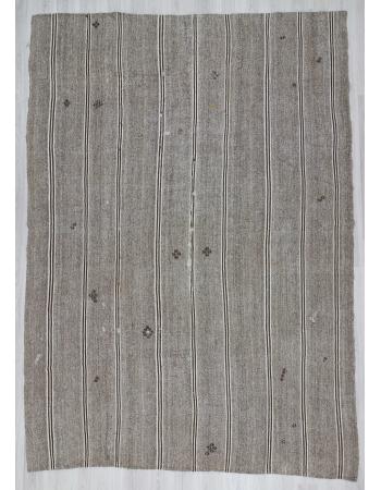 Vintage gray Turkish kilim rug