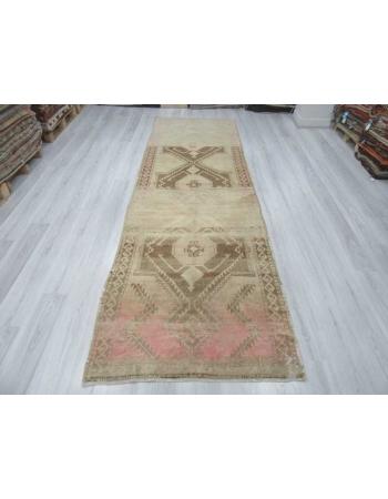 Washed out vintage Turkish runner rug