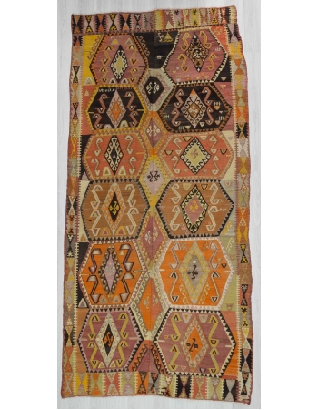 Handwoven vintage colorful Turkish kilim rug