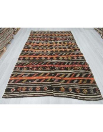 Embroidered vintage Turkish goat hair kilim rug
