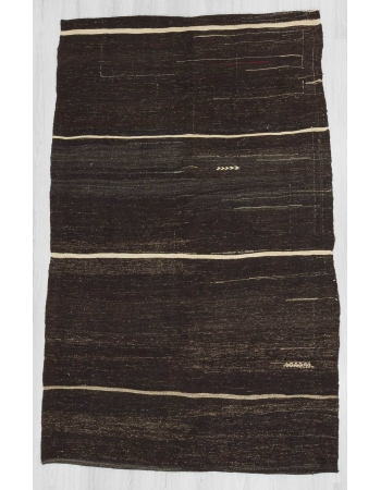 Vintage white striped black Turkish goat hair kilim rug