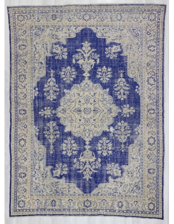 Blue & Beige vintage Turkish Oushak rug