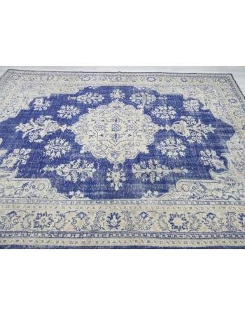 Blue & Beige vintage Turkish Oushak rug