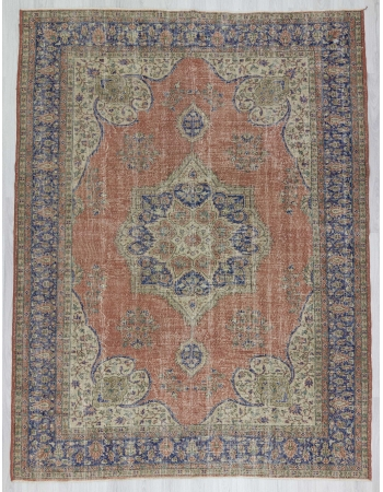 Vintage large worn Turkish Oushak rug