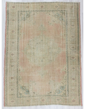Handknotted washed out Turkish oushak rug