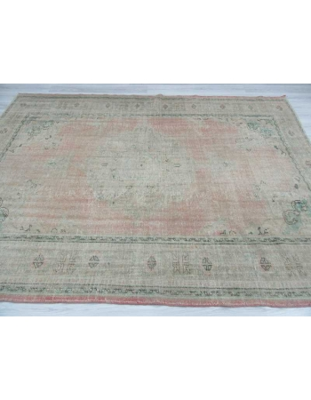 Handknotted washed out Turkish oushak rug