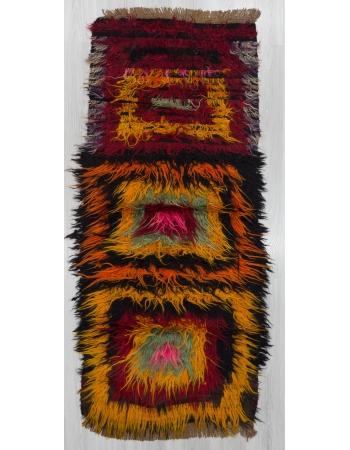 Colorful vintage Turkish filikli rug