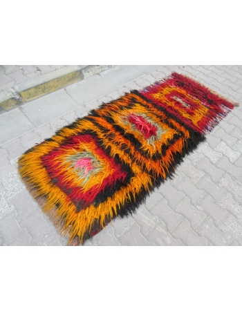 Colorful vintage Turkish filikli rug