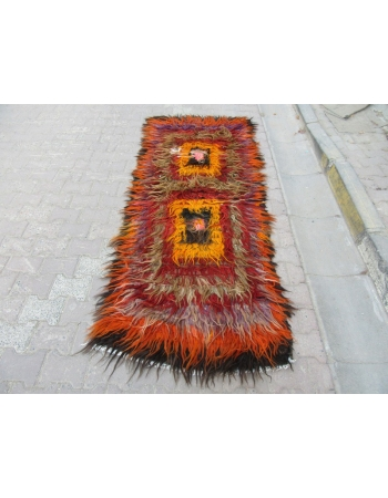 Colorful vintage Turkish shaggy tulu rug