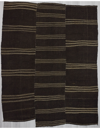 Striped vintage brown goat hair kilim rug