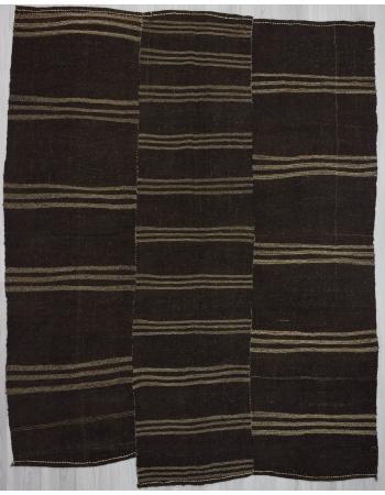 Striped vintage brown goat hair kilim rug