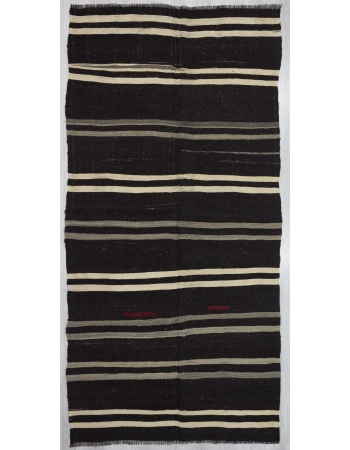 Vintage Black/Gray/White striped kilim rug