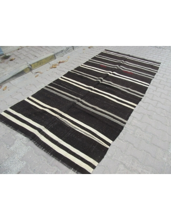 Vintage Black/Gray/White striped kilim rug