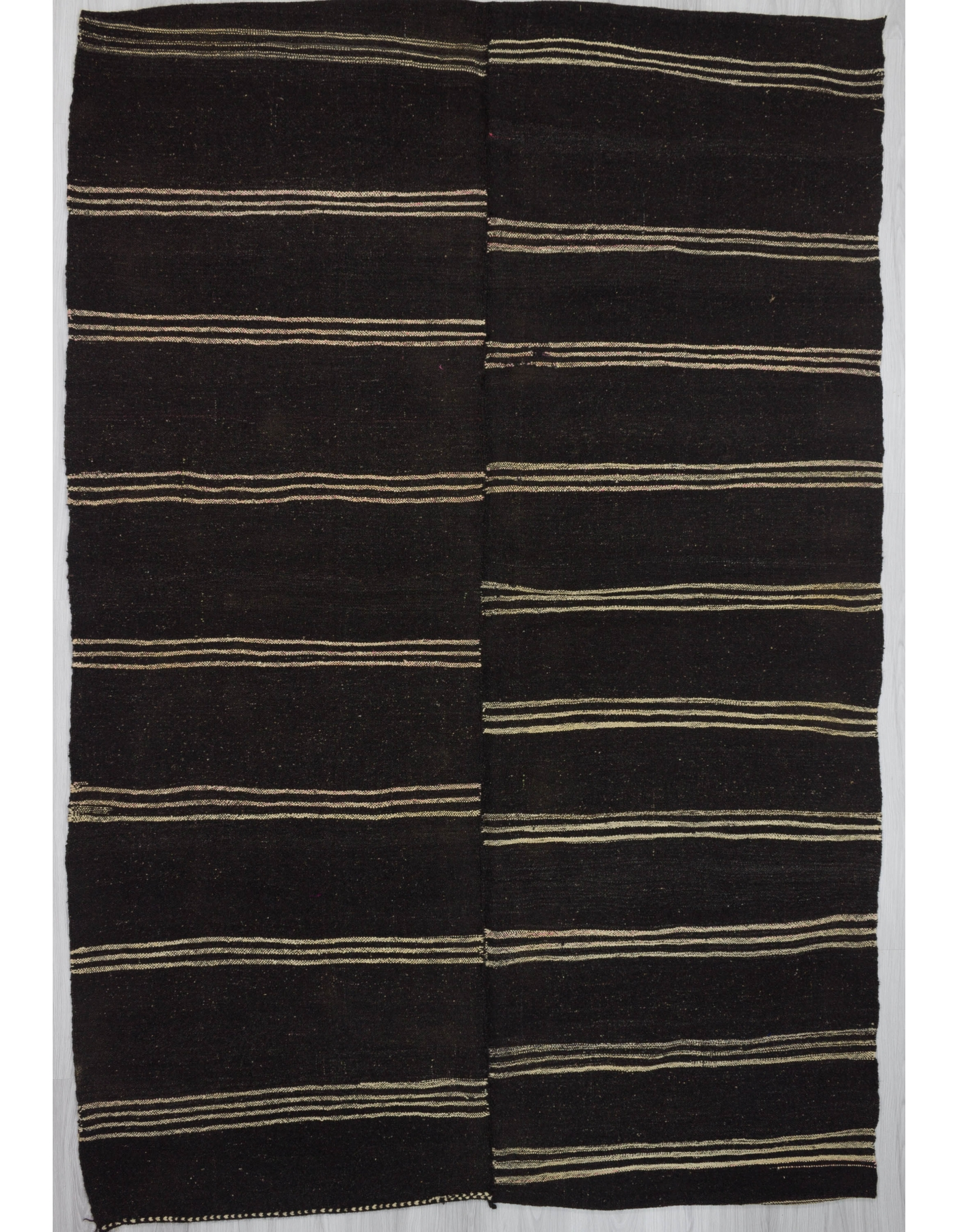 Vintage black white striped kilim rug