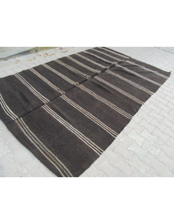 Vintage black white striped kilim rug