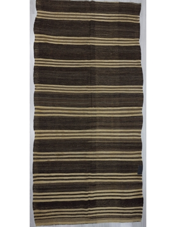 Brown / Ivory Striped Turkish kilim rug