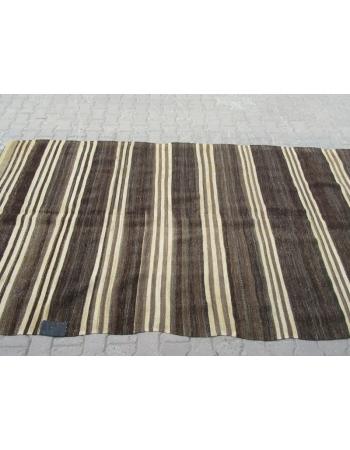 Brown / Ivory Striped Turkish kilim rug