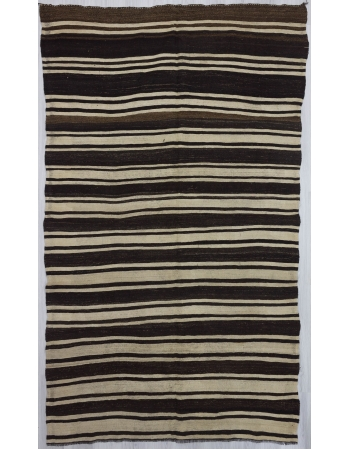 Brown Black White striped kilim rug