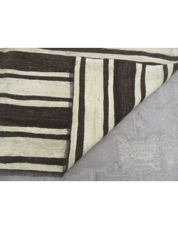 Brown Black White striped kilim rug