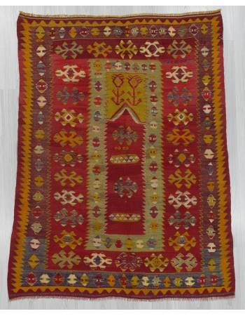 Vintage Turkish prayer kilim rug