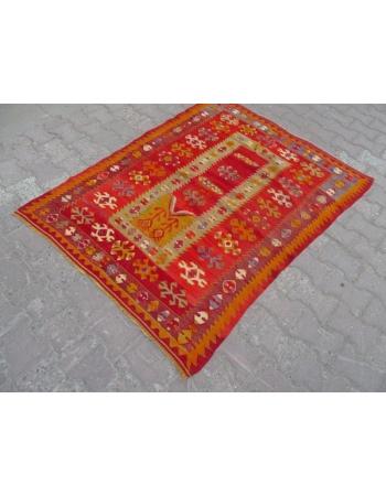 Vintage Turkish prayer kilim rug