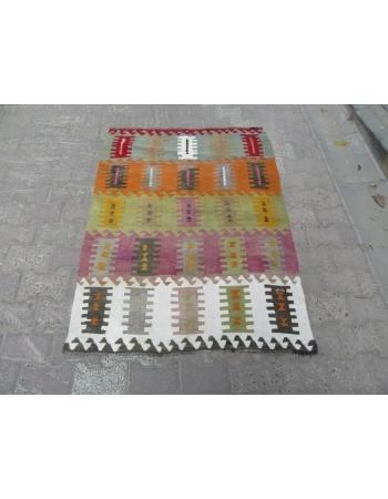 Vintage Colorful small kilim rug