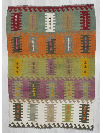 Vintage Colorful small kilim rug