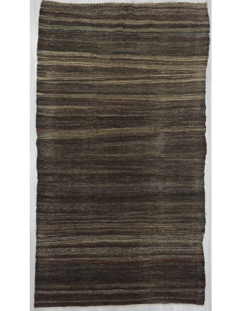 Vintage gray and brown kilim rug