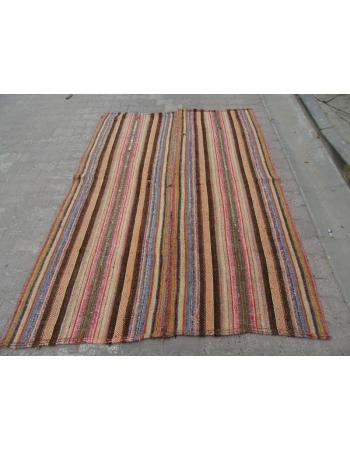 Vintage Striped, Vintage Modern Wool Turkish Marash Kilim Rug