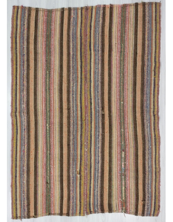 Vintage Striped, Vintage Modern Wool Turkish Marash Kilim Rug
