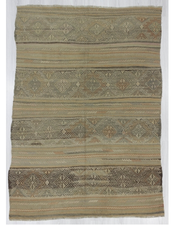 Vintage Embroidered, Vintage Modern Beige Wool Turkish Denizli Kilim Rug