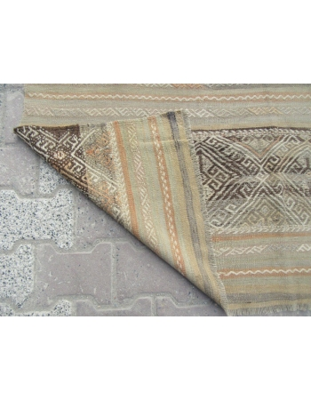 Vintage Embroidered, Vintage Modern Beige Wool Turkish Denizli Kilim Rug