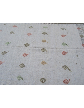 Vintage White Turkish Afyon Kilim Rug