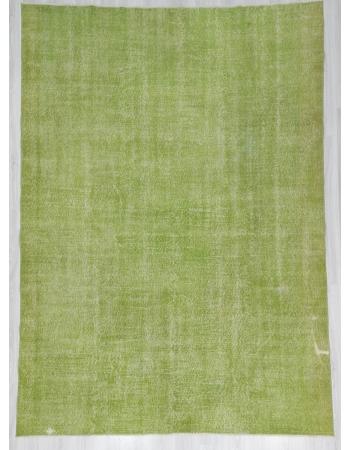 Vintage Plain Green Oushak Rug