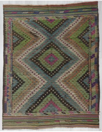 Vintage Turkish Denizli Kilim Rug