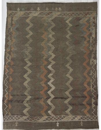 Vintage Embroidered,Vintage modern Brown Turkish Denizli Kilim Rug