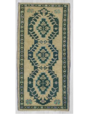 Green / Beige Mini Turkish Carpet