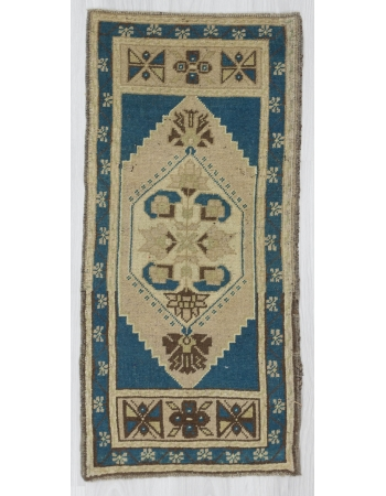 Vintage Blue Decorative Mini Oushak Rug