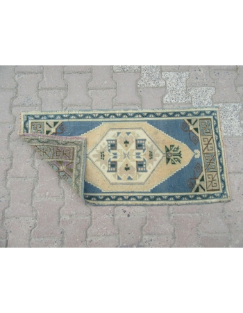 Blue / Beige Vintage Mini Oushak Carpet