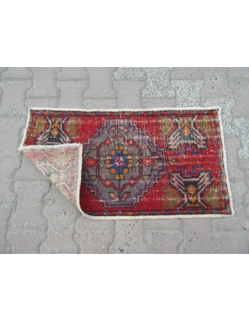 Worn Out Vintage Mini Turkish Anatolian Rug