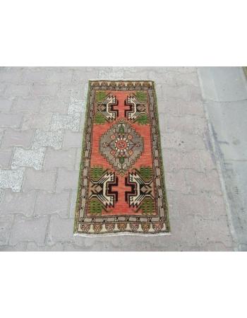Vintage Decorative Mini Turkish Oushak Carpet