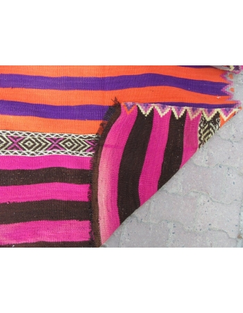 Colorful Striped Vintage Turkish Kilim Runner