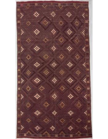 Vintage Embroidered Burgundy Kilim Rug